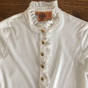 Tory Burch white, long-sleeve shirt w/gold buttons